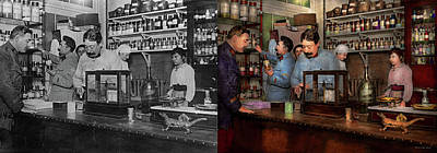 Poster featuring the photograph Pharmacy - The Dispensing Chemist 1918 - Side By Side by Mike Savad