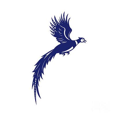 Pheasant Bird Fowl Flying Side Retro Poster