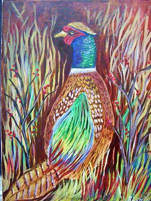Poster featuring the painting Pheasant In Sage by Belinda Lawson