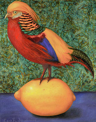 Pheasant On A Lemon Poster by Leah Saulnier The Painting Maniac