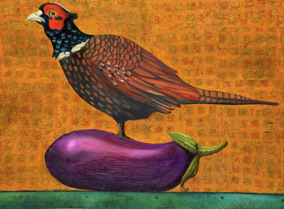 Pheasant On An Eggplant Poster by Leah Saulnier The Painting Maniac