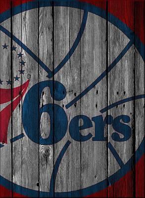 Philadelphia 76ers Wood Fence Poster by Joe Hamilton