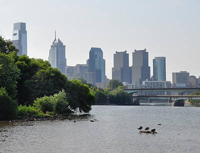 Philadelphia Along The Schuylkill River Poster by Bill Cannon