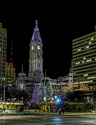Philadelphia City Hall And Christmas Village Poster