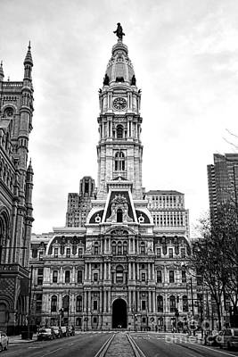 Philadelphia City Hall Building On Broad Street Poster by Olivier Le Queinec