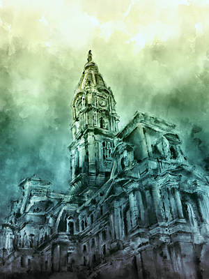 Philadelphia City Hall Green Poster by Bekim Art