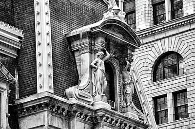 Poster featuring the photograph Philadelphia City Hall Window In Black And White by Bill Cannon