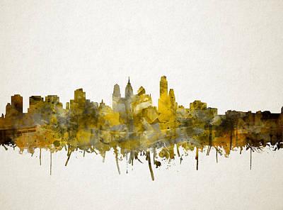 Philadelphia City Skyline Sepia Poster