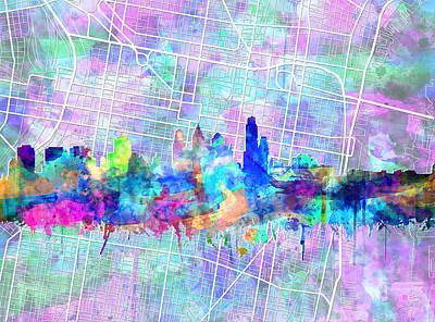 Philadelphia City Skyline Watercolor 2 Poster