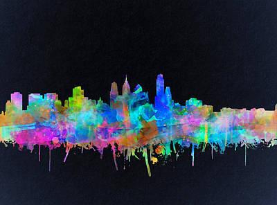 Philadelphia City Skyline Watercolor Poster