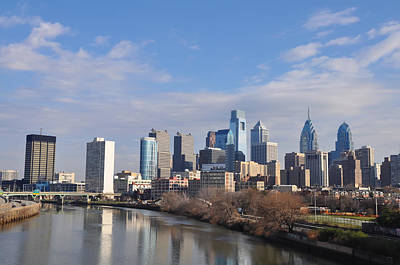 Philadelphia From The South Street Bridge Poster by Bill Cannon