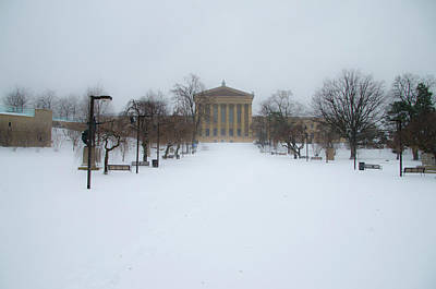 Philadelphia Museum Of Art After A Snowfall Poster by Bill Cannon