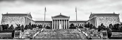 Philadelphia Museum Of Art Panorama In Black And White Poster by Bill Cannon