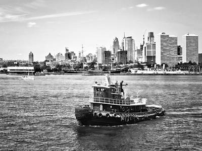 Philadelphia Pa - Tugboat By Philadelphia Skyline Black And White Poster by Susan Savad