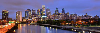 Philadelphia Philly Skyline At Dusk From Near South Color Panorama Poster by Jon Holiday