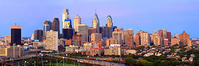 Philadelphia Skyline At Dusk Sunset Pano Poster by Jon Holiday