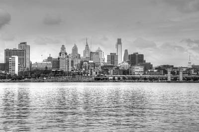 Philadelphia Skyline In Black And White Poster by Jennifer Ancker