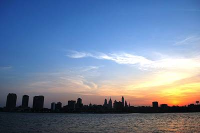 Philadelphia Skyline Low Horizon Sunset Poster
