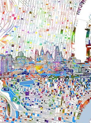 Philadelphia Skyline Map 3 Poster