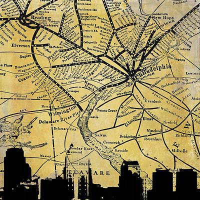 Philadelphia Skyline Map Poster by Brandi Fitzgerald