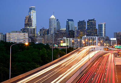 Philadelphia Skyline Night Poster by Binh Ly