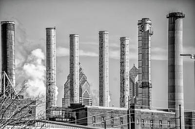 Philadelphia Steam Stacks In Black And White Poster by Bill Cannon
