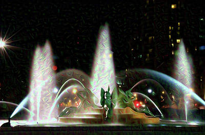 Philadelphia - Swann Fountain - Night Water Color Poster by Bill Cannon