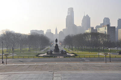 Philadelphia - View From The Art Museum Poster by Bill Cannon