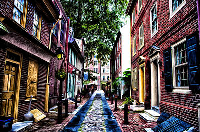 Philadelphia's Elfreth's Alley Poster by Bill Cannon