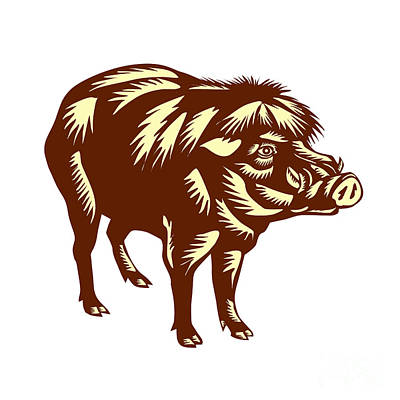 Philippine Warty Pig Woodcut Poster by Aloysius Patrimonio