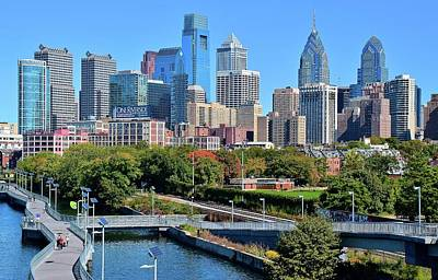 Poster featuring the photograph Philly With Walking Trail by Frozen in Time Fine Art Photography