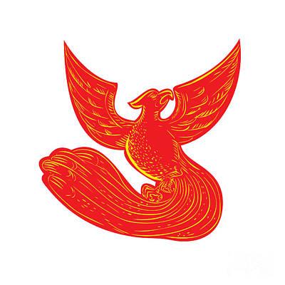 Phoenix Rising Etching Poster by Aloysius Patrimonio