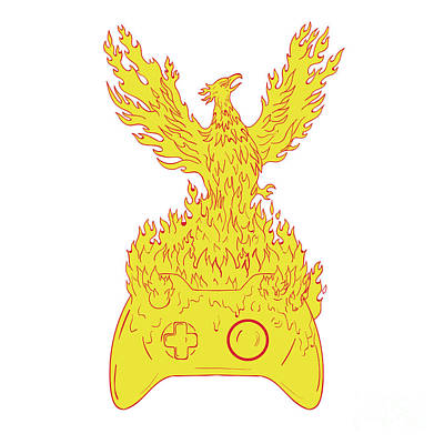 Phoenix Rising Fiery Flames Over Game Controller Drawing Poster by Aloysius Patrimonio