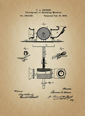 Phonograph Patent From 1878 Poster
