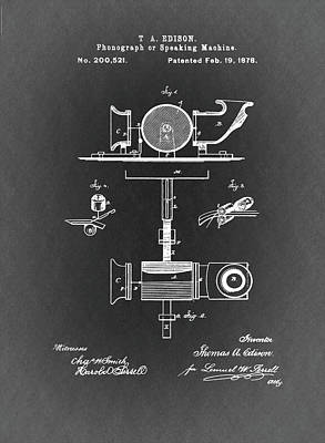 Phonograph Patent From 1878 Black And White Poster