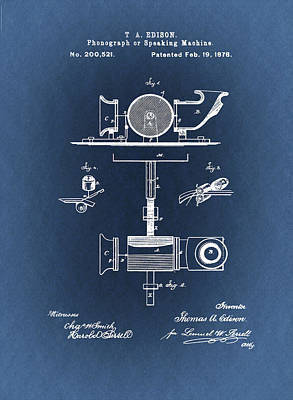 Phonograph Patent From 1878 Blueprint Poster