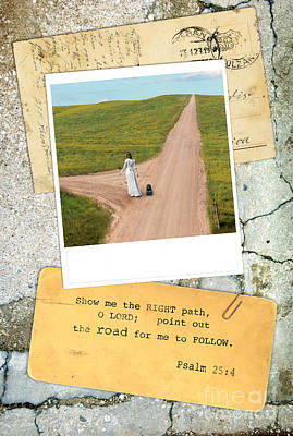 Photo Of Lady On Road With Bible Verse Poster by Jill Battaglia