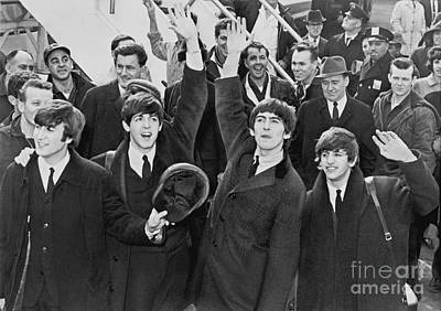 Photograph Of The Beatles Arriving In America Poster by Pd