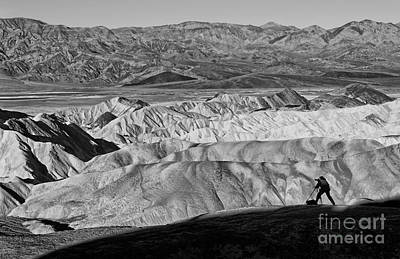 Photographer Catching The Perfect Shot Of Sunrise In Death Valley. Poster