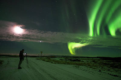 Poster featuring the photograph Photographer Under The Northern Light by Dubi Roman