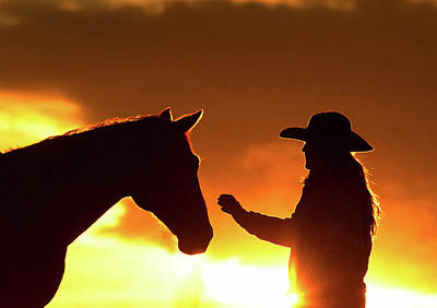 Cowgirl Sunset Sihouette Poster