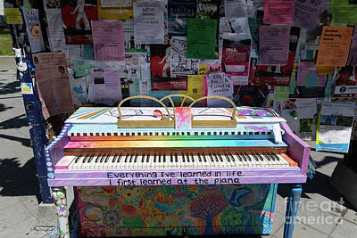 Poster featuring the photograph Piano At Tack Board On Sproul Plaza At The University Of California Berkeley Dsc6249 by San Francisco Art and Photography