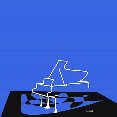 Piano In Blue Prints Available At Poster by Jazz DaBri