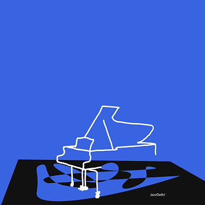Piano In Blue Poster