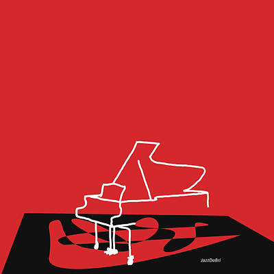 Piano In Red Poster by David Bridburg