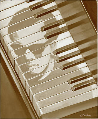 Piano Man In Sepia Poster by J L Meadows