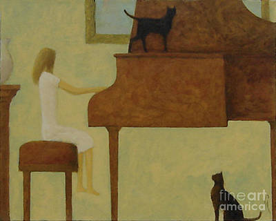 Piano Two Cats Poster
