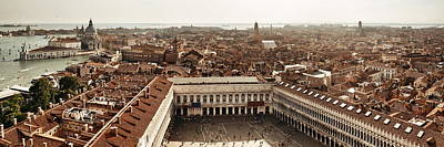Poster featuring the photograph Piazza San Marco Bell Tower Panorama View by Songquan Deng