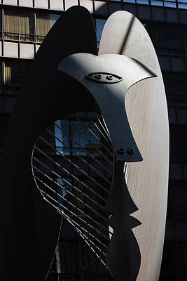 Picasso Sculpture Chicago Morning Poster