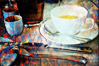Poster featuring the photograph Picasso's Coffee by Craig J Satterlee